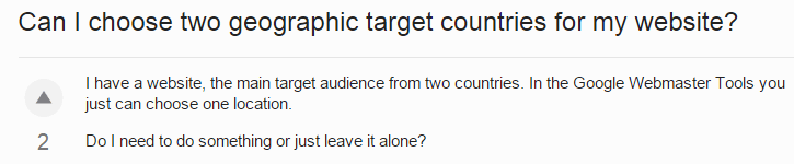can I choose geographic target for two countries