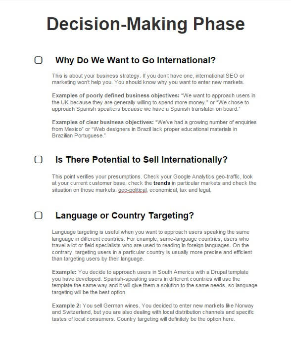 International Seo  Point Checklist  International Seo Strategy